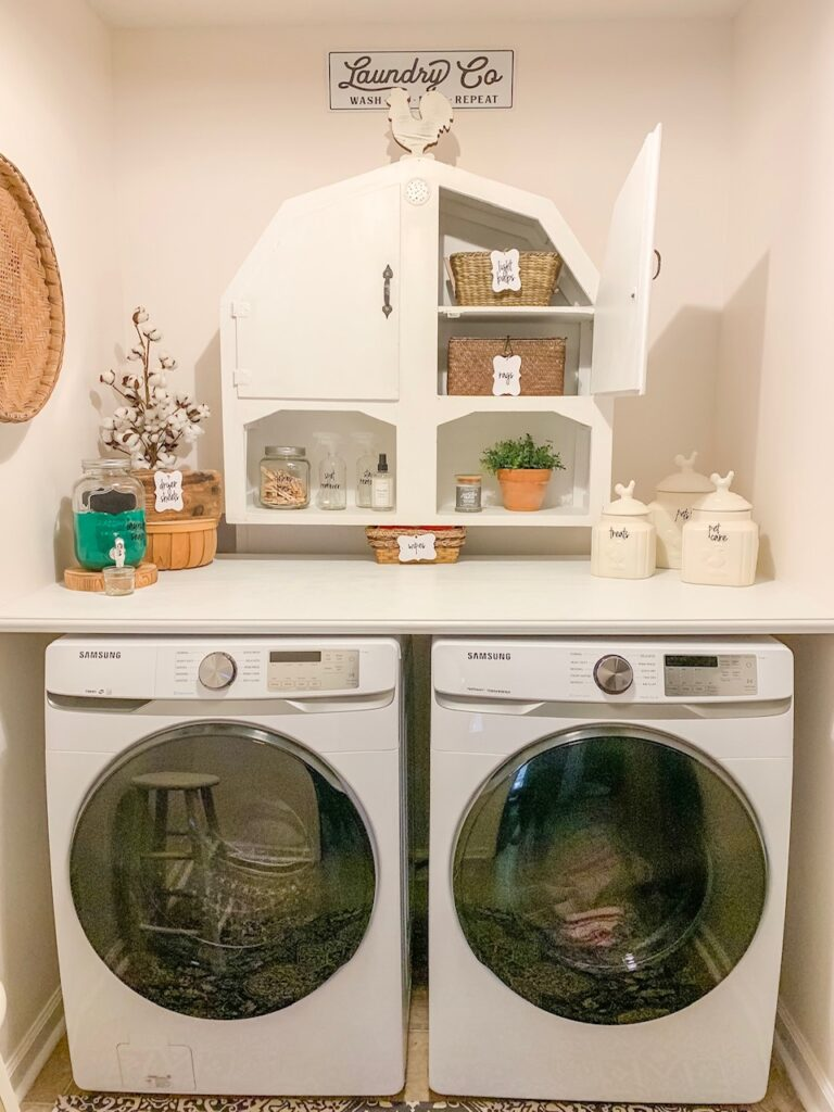 small laundry room makeover with farmhouse charm