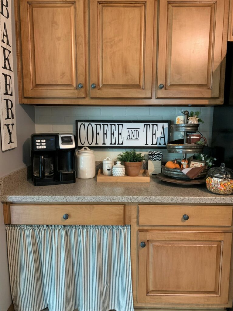 desk area turned into a coffee bar