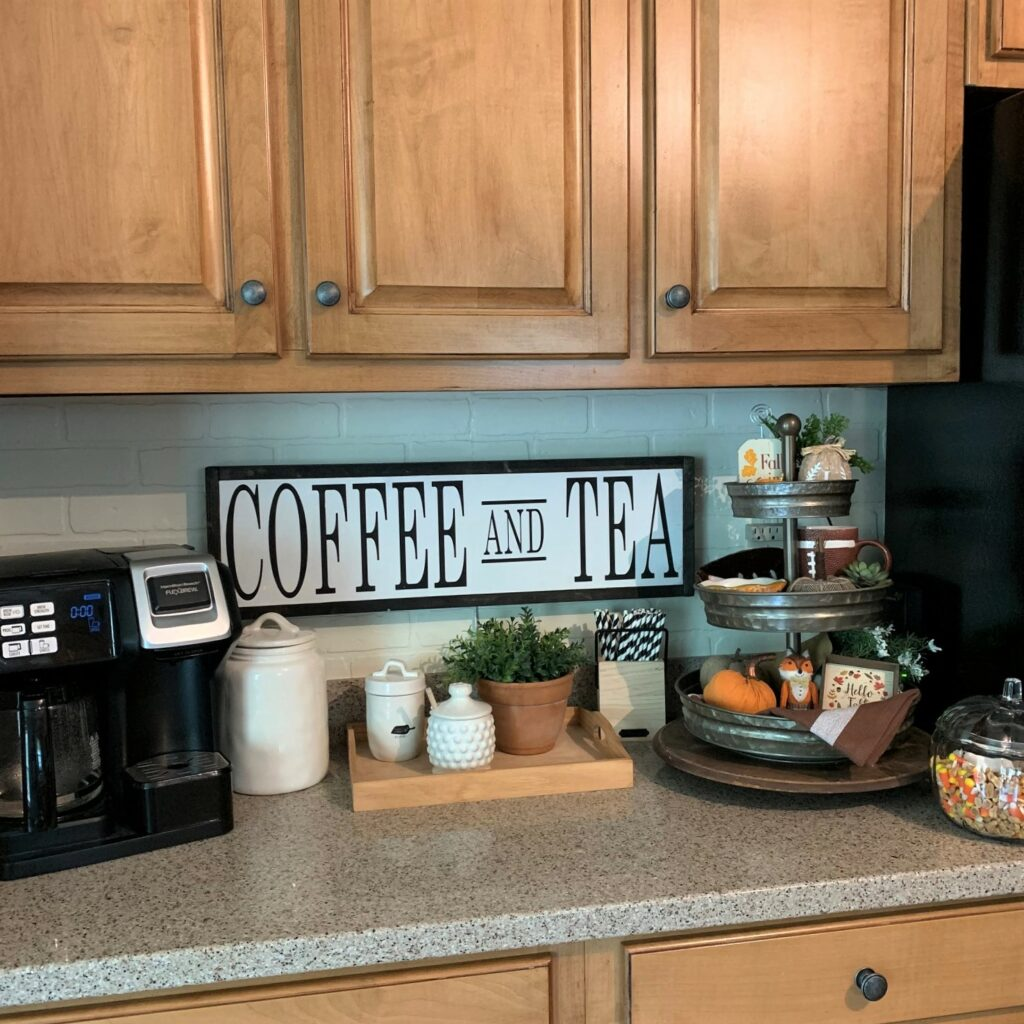 coffee bar with wood coffee and tea sign