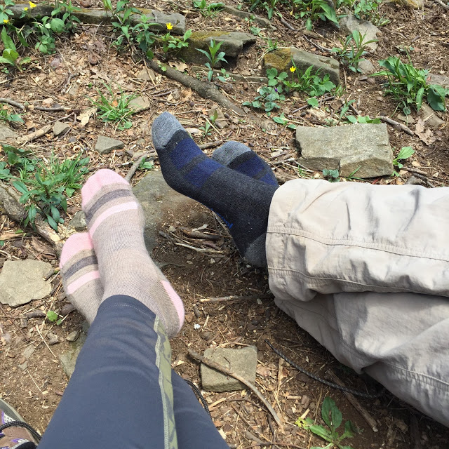 hiking shoes off relaxing on the Appalachian Trail hike
