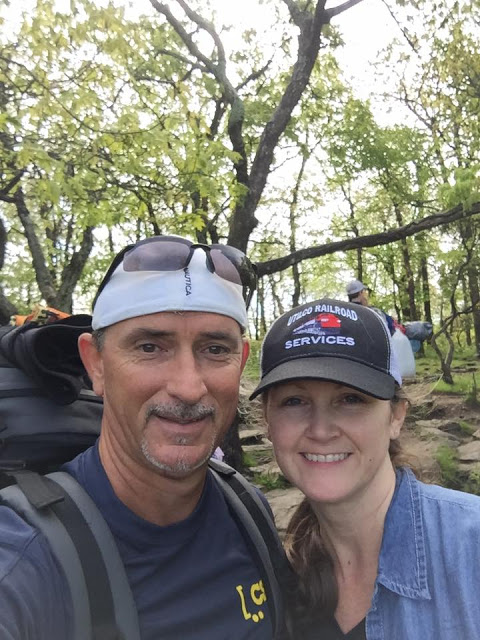 section hikers on the Appalachian Trail in Georgia on top of Springer Mountain