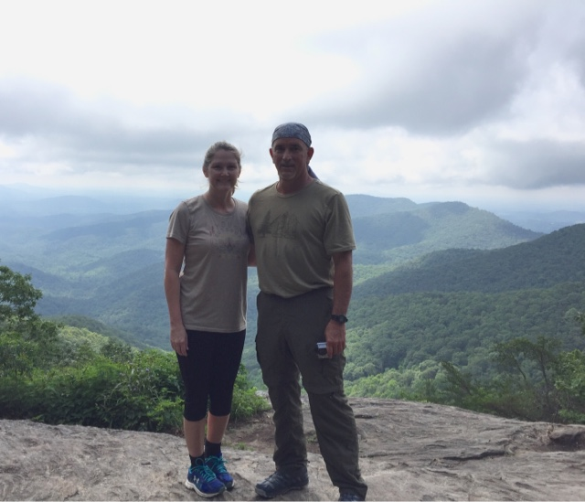 Empty nesters celebrate their wedding anniversary on top of Blood Mountain on the Appalachian Trail
