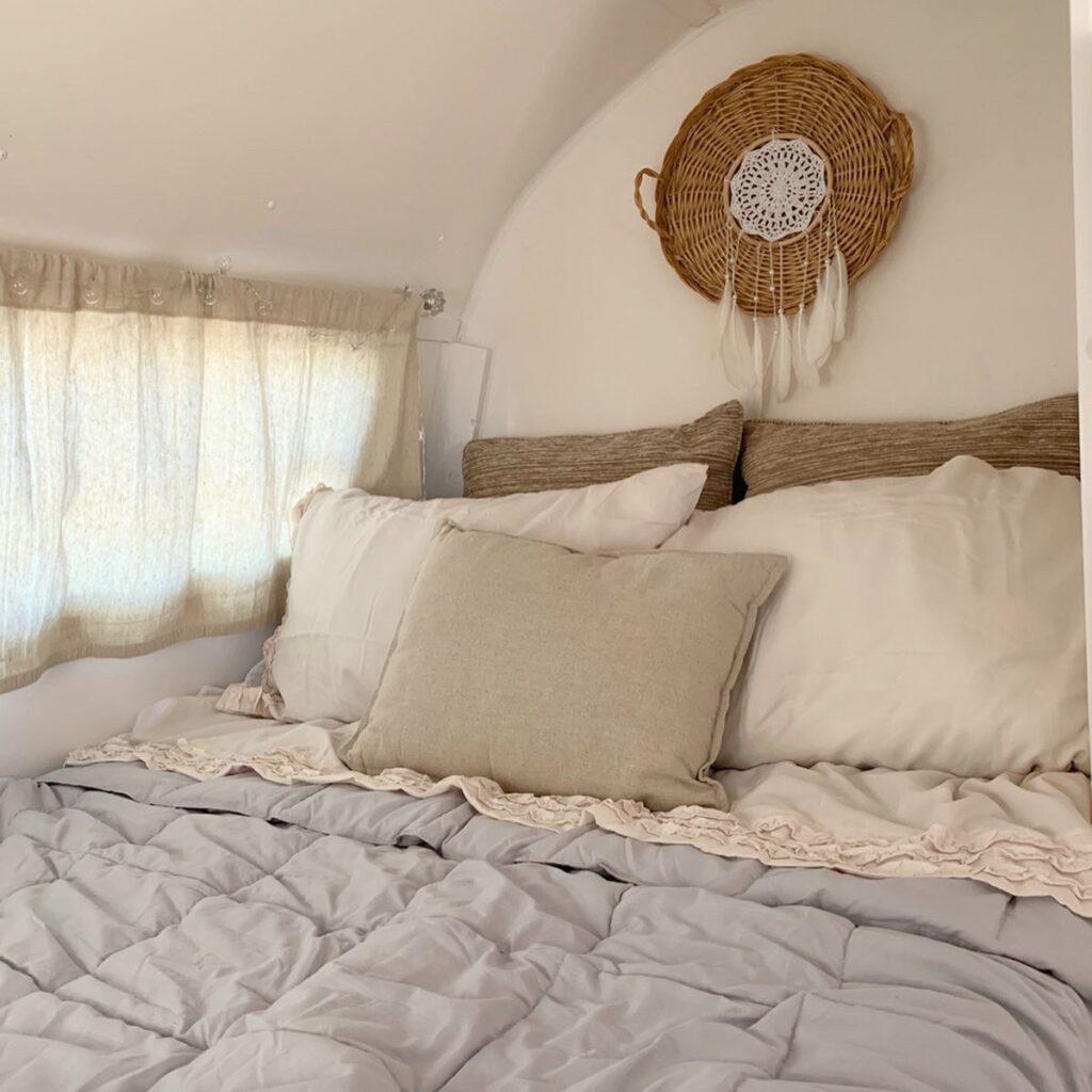 bohemian bedding for vintage camper