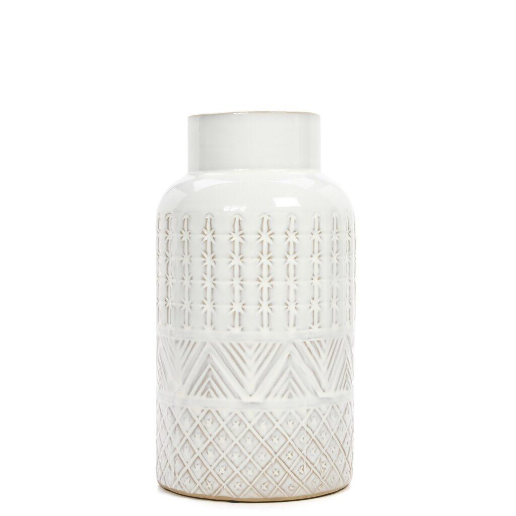 Better Homes and Gardens white flower vase, white pottery, white home decor