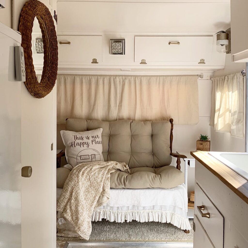 vintage camper with neutral interior,vintage camper restoration, diy camper restoration, diy camper project, vintage camper