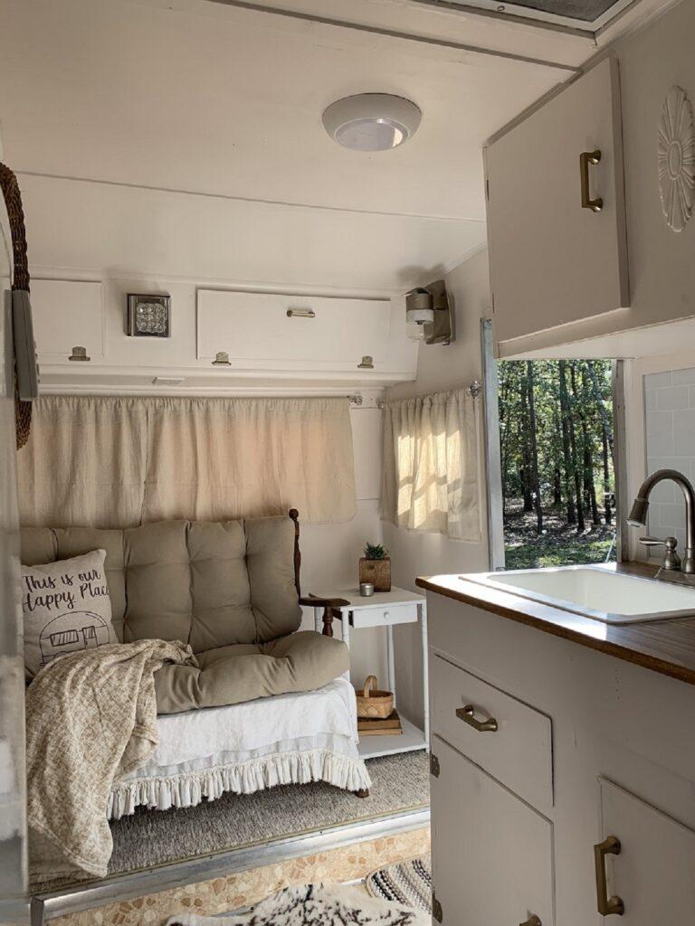 refurbished vintage camper with cottage charm