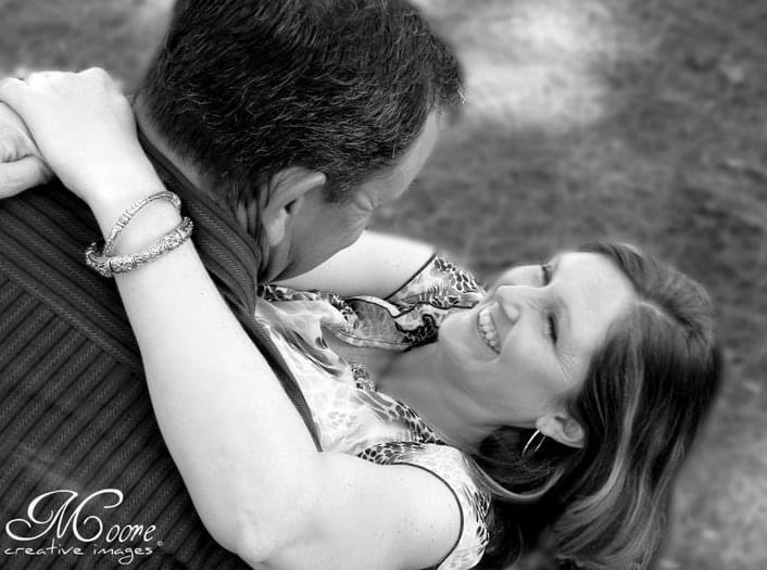 black and white photo of couple in love