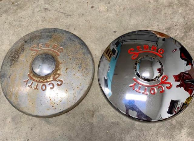 vintage camper hubcaps, vintage hubcaps, camper hubcaps, scotty serro hubcaps, restored camper hubcaps