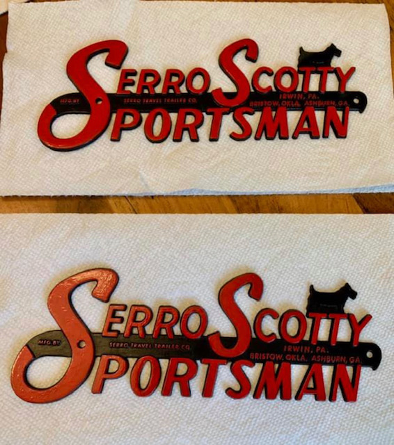 serro scotty sportsman, vintage serro scotty sportsman emblem, restored vintage serro scotty sportsman emblems