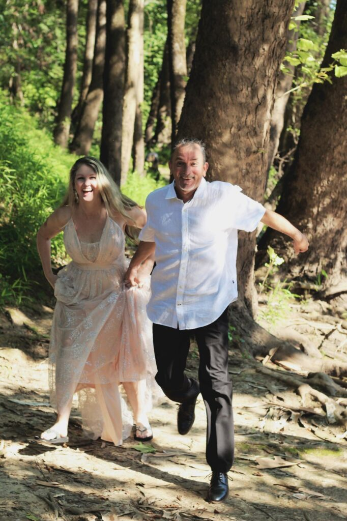 wedding anniversary photo shoot in an outdoor wooded area