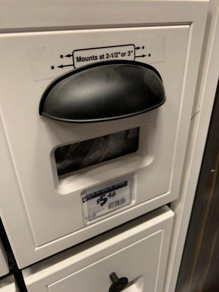 black drawer pulls from Home Depot, black cabinet hardware, black hardware