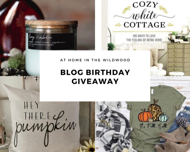 blog giveaway, candle, cozy white cottage book, hey there pumpkin pillow, fall t-shirt
