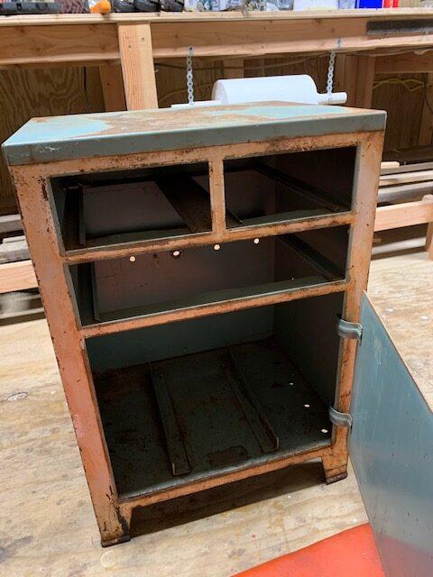 diy project using a vintage medical cabinet