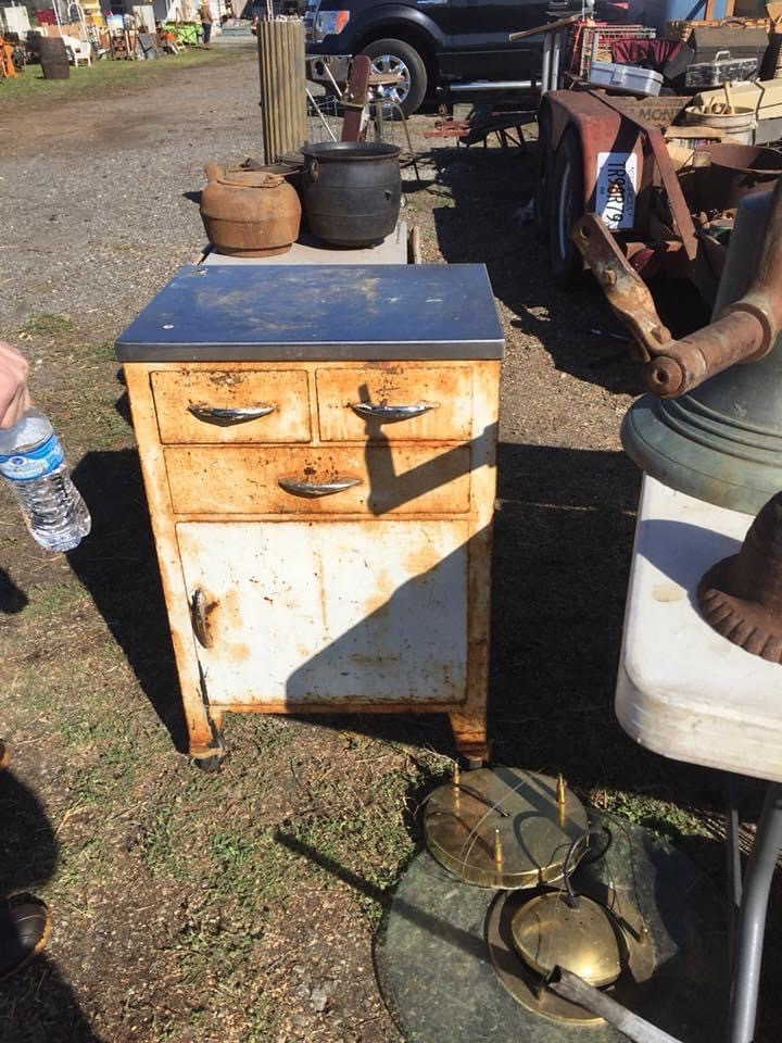 a vintage medical cabinet thrifted at a yard sale