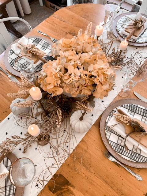 neutral fall tablescape using concrete and warm tones