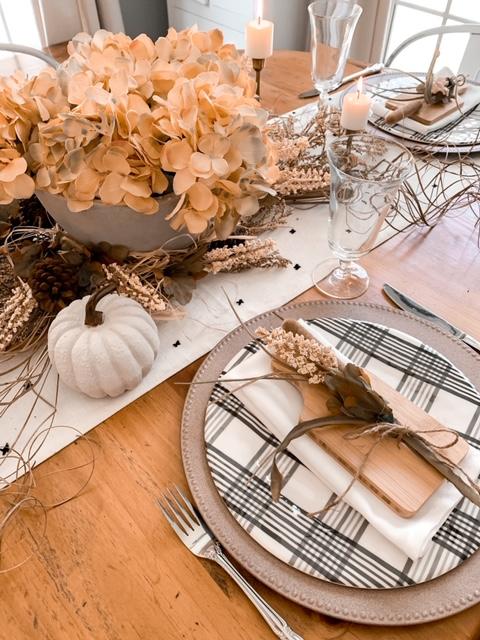 a fall neutral tablescape using concrete decor