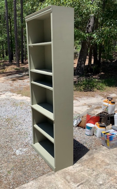 DIY book shelf transformation using Lichen colored paint by Fusion Mineral