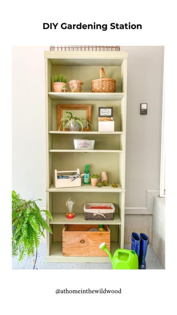 A repurposed book shelf turned into a gardening shelf
