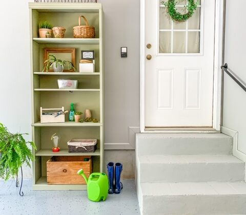 garage organization, garage entry, garage entry makeover, gardening shelf, gardening station, organize your garage