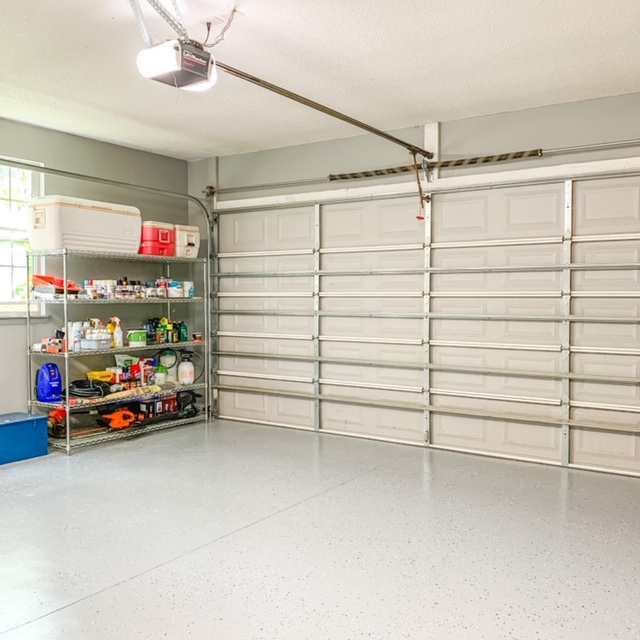 A garage organization project using wire industrial shelving