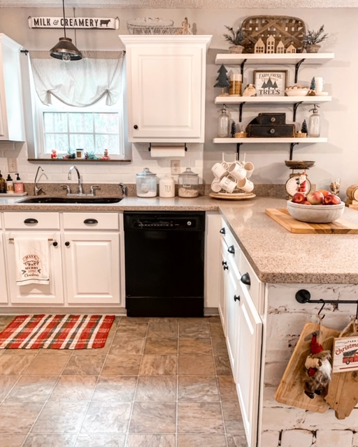 Cottage style kitchen decorated for Christmas