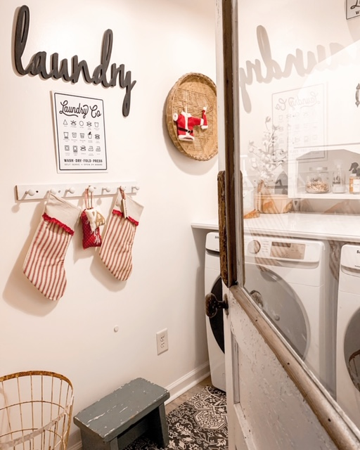 cottage style laundry room decorated for Christmas