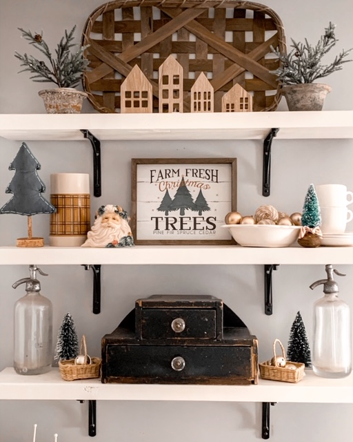 kitchen open shelving decorated with neutral Christmas decor