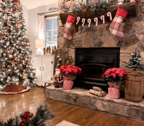 A cozy cottage Christmas living room
