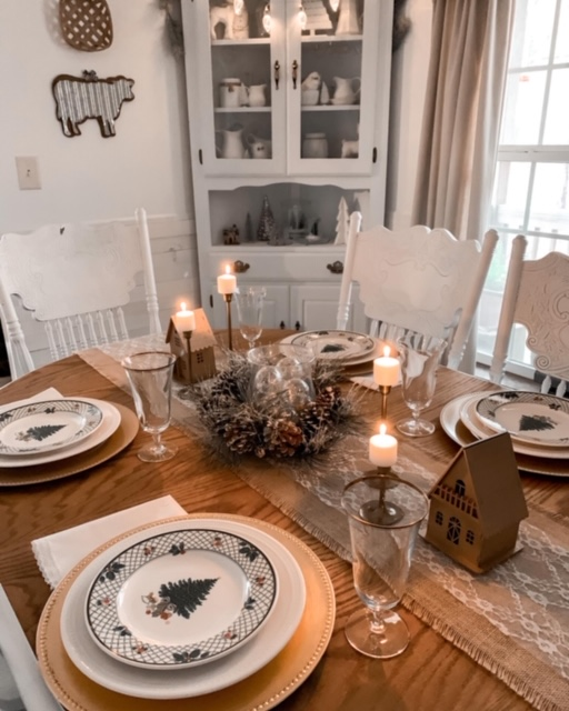 Dining room tablescape with neutral Christmas decor