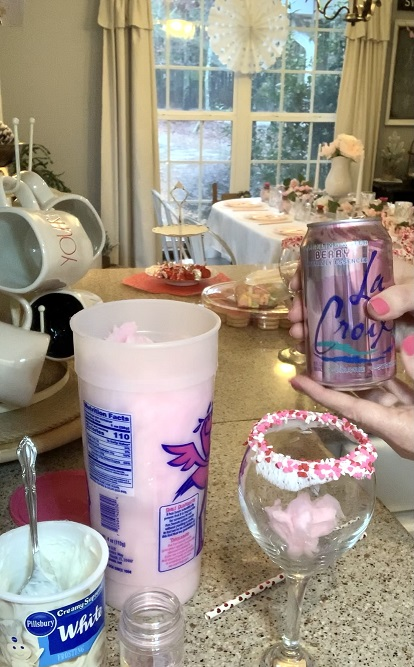 seltzer added to cotton candy drink