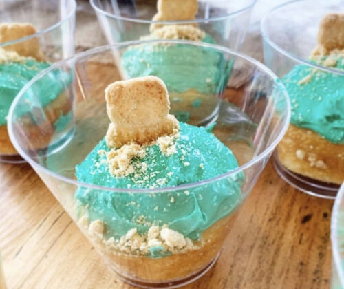 A cupcake dessert cup to celebrate groundhog day