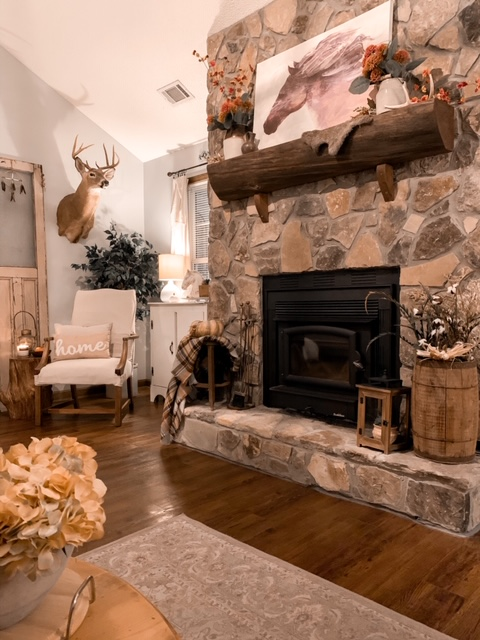 A cozy cottage living room styled for the fall season