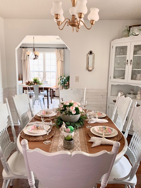 A spring or Easter themed table setting