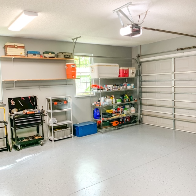 Reorganizing your garage with wood and metal shelving