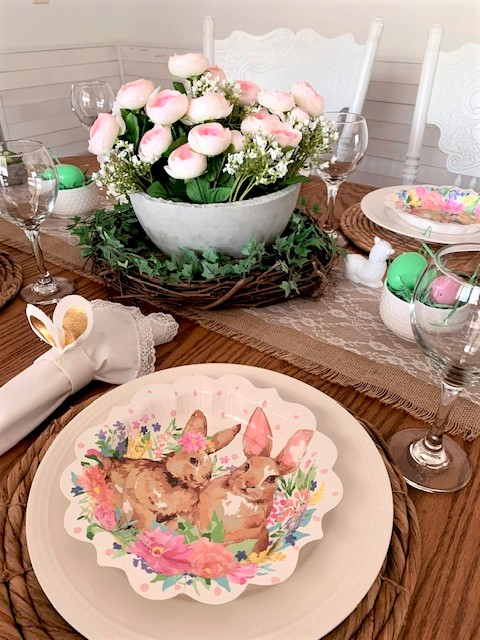 An Easter table setting using Pioneer Woman paper plates