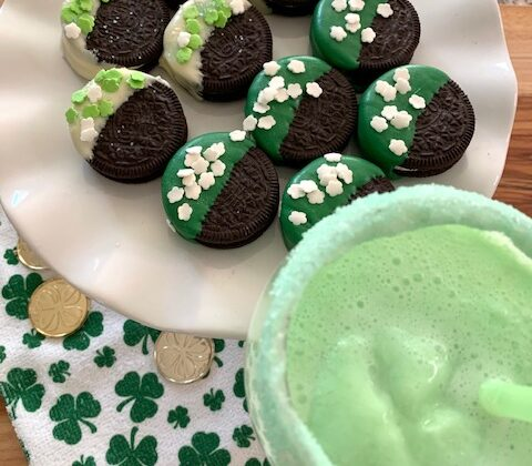 St Patrick's Day treats of dipped Oreos and Leprechaun Punch