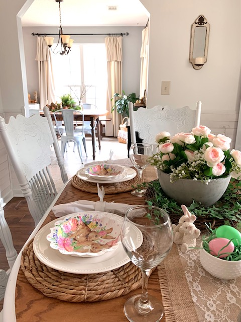 A simple Easter table scape using a mix of real dishes and paper products