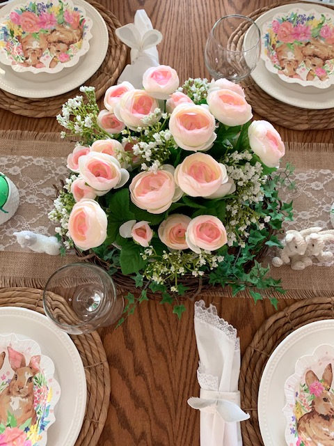 A casual, organic spring table setting for Easter