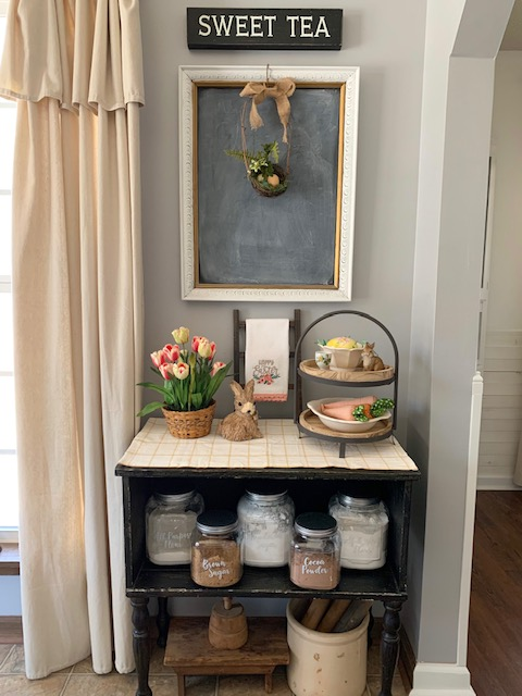 A baking station styled for spring and Easter