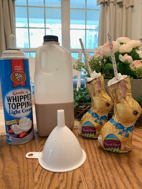 ingredients to make chocolate Easter bunny drinks