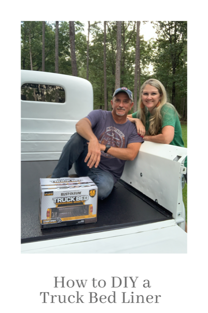 couple diy a truck bed liner with a Rust-Oleum truck bed professional kit
