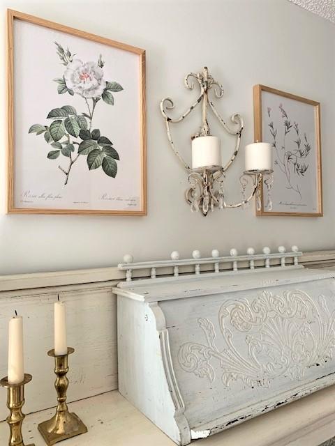 vintage decor on an antique mantel