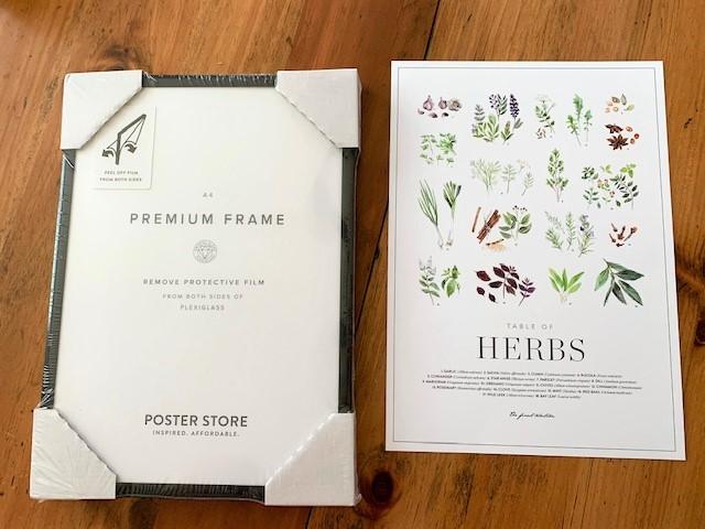 herb print with black frame