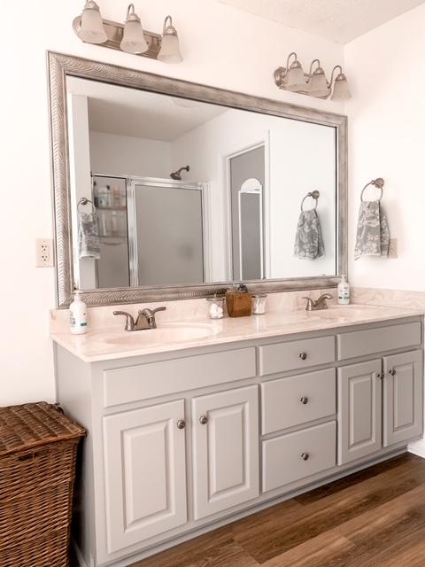 bathroom vanity painted in Smokey Wings by Behr