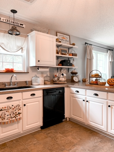 fall kitchen decor in an all white kitchen