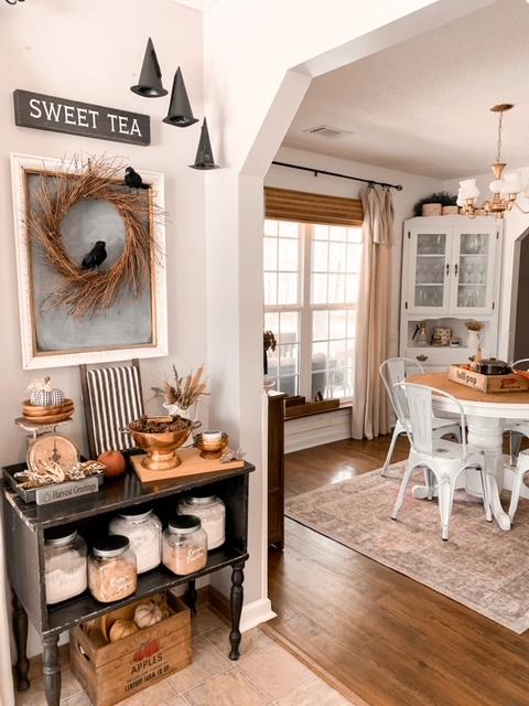 neutral and subtle Halloween kitchen decor